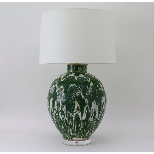 "Contemporary Paul Schneider Ceramic ""Valentine"" Lamp in Drip Banded Forrest Glaze For Sale - Image 3 of 3"