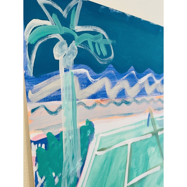 """Contemporary """"Tennis Court in Waves"""" Contemporary Fauvist Style Sport Painting by Sally King Benedict For Sale - Image 3 of 5"""