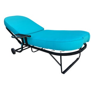 Black Steel Spring Outdoor / Patio Chaise Lounge by Woodard For Sale