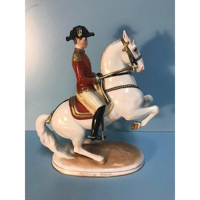Royal Vienna Porcelain Lipizzaner Horse Riding School Figurines - a Pair