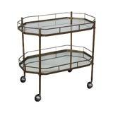 Image of Mid-Century Brass 2-Tier Mirror Shelf Bar Cart For Sale