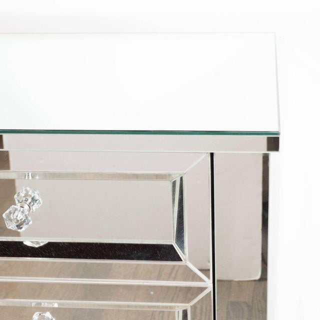 Contemporary Directoire Style Custom Mirrored Nightstands with Three Drawers - a Pair For Sale In New York - Image 6 of 10