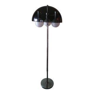 1960s Vintage Smoked Lucite Mushroom Chrome Floor Lamp For Sale