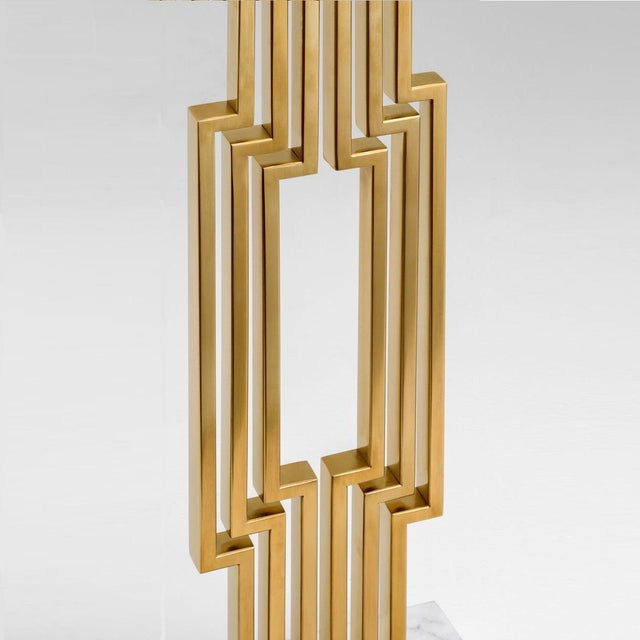 Provence brushed brass table lamp with shade Rectangular section brushed brass tubes in a geometric pattern with a heavy...