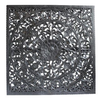 Carved Ebony Wood Panel For Sale