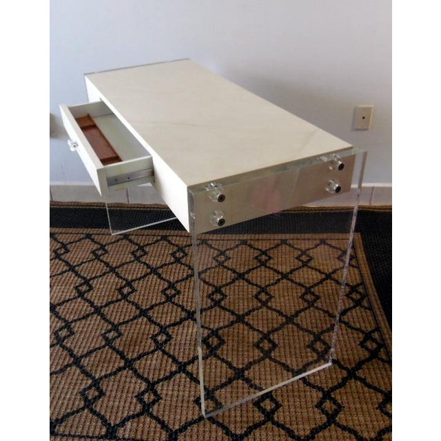 Faux Goat Skin Finish Lucite Wood Desk For Sale In Miami - Image 6 of 11