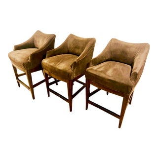 Contemporary Vanguard Furniture Olive Suede Bar Stools - Set of 3 For Sale