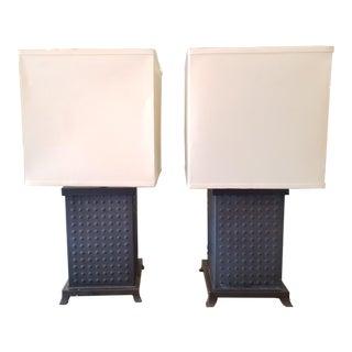 Set of 2 Baker Vintage Hobbs Iron Base Table Lamp For Sale