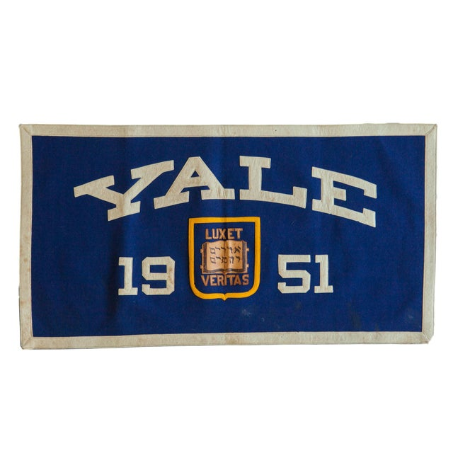 Textile Vintage Yale 1951 Felt Banner For Sale - Image 7 of 7
