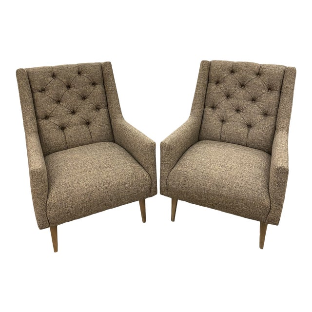 Mid Century Modern Chairs Tufted Newly Upholstered Oatmeal - a Pair For Sale