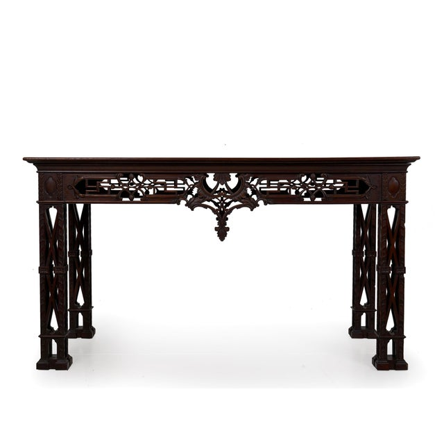 Carved Mahogany English Antique Library Console Table For Sale - Image 4 of 13