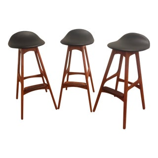 Erik Buch Danish Teak Bar Stools- Set of 3