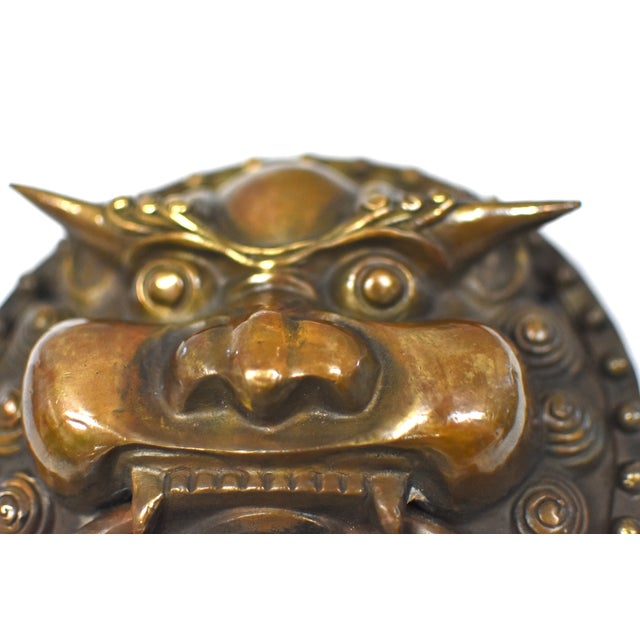 Late 20th Century Vintage Dragon King Motif Brass Door Knockers- a Pair For Sale - Image 4 of 13