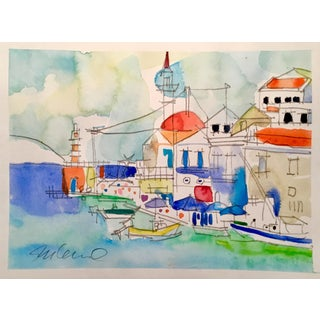 Mediterranean Monday Watercolor Painting For Sale