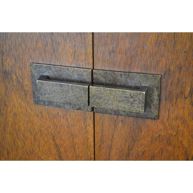 Mid Century Modern Walnut Low 4 Door Credenza Cabinet For Sale - Image 11 of 13