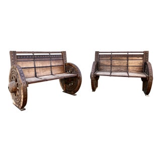 1950s Rustic Wagon Wheel Benches - a Pair For Sale