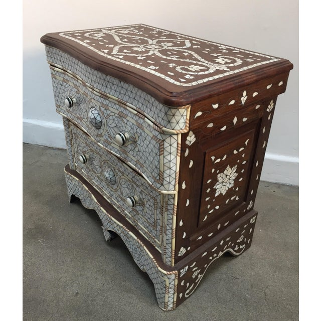 Wood Syrian Middle Eastern White Mother-Of-Pearl Inlay Wedding Dresser For Sale - Image 7 of 12