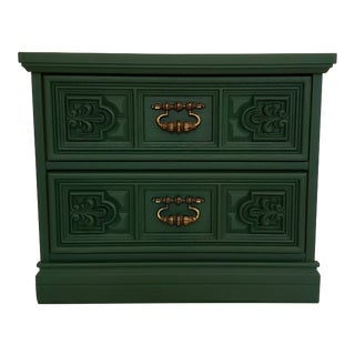 Vintage Green Wood Bassett Nightstand For Sale
