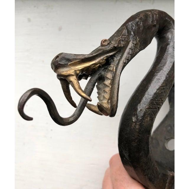 Gothic Iron Serpent Door Knocker For Sale - Image 3 of 9