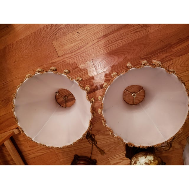 Shabby Chic Vintage Buffet Lamps With Cloth Shades and Fringe - a Pair For Sale - Image 3 of 10