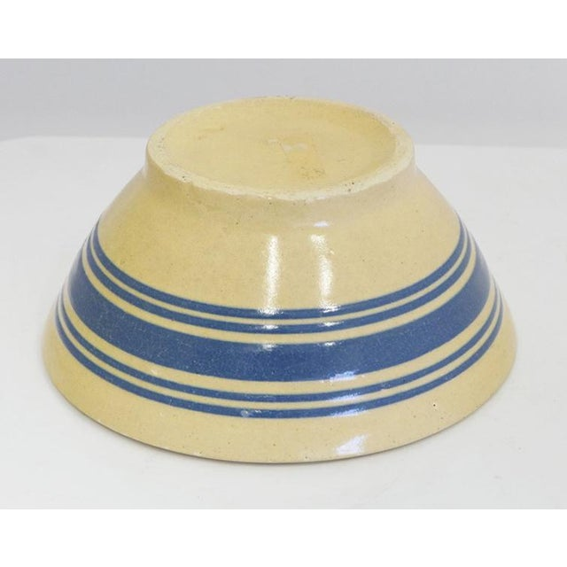 Blue Stripe Yelloware Bowl For Sale - Image 4 of 5
