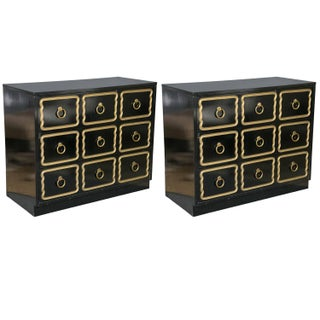 Dorothy Draper Style Espana Ebonized Chest - Pair