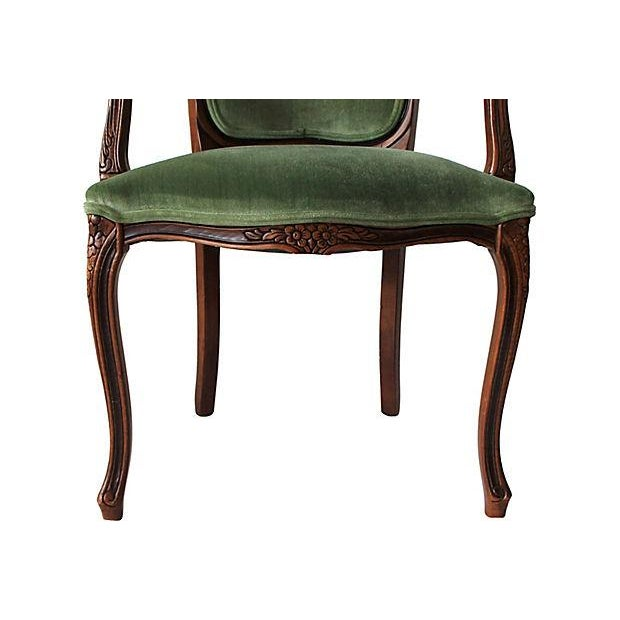 Upholstered Green Fauteuils - Pair - Image 8 of 10