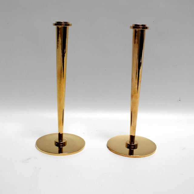 Mid-Century Modern Bronze Candlesticks - Pair - Image 2 of 8