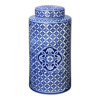 Blue & White Jar with Lid For Sale