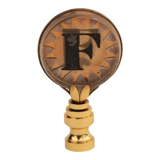 Letter F Monogrammed Lamp Finial For Sale