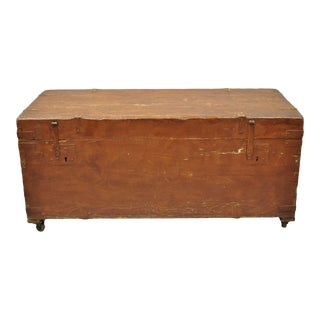 19th Century Antique Brown Distress Painted Pine Trunk For Sale