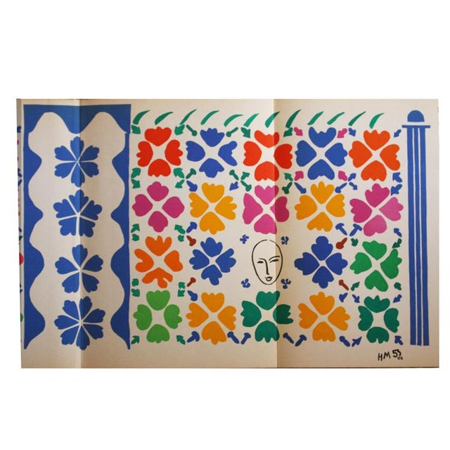 """Henri Matisse Original Lithograph, """"Decoration Masques"""" 1953. Signed in stone. The lithographs after Matisse's late paper..."""