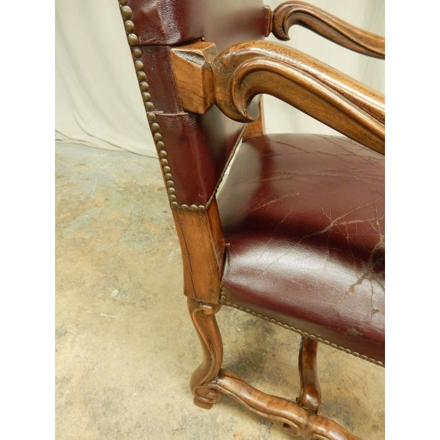 Wood Spanish Louis XIV Style Arm Chair For Sale - Image 7 of 9