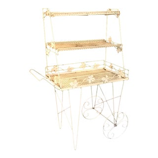 1960's Metal Painted Garden Cart & Plant Stand Set For Sale