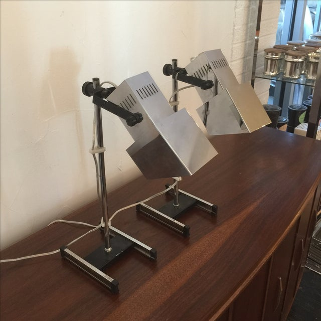 1960s Architectural Chrome Desk Lamps - A Pair - Image 4 of 8