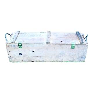 Vintage Wooden Ammunition Crate Trunk Box For Sale