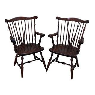 Ethan Allen Pine Duxbury Windsor Arm Chairs - Pair