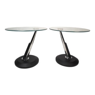 Pair of Contemporary Modern Glass End Tables For Sale