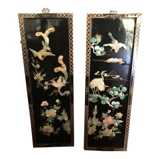 Asian Black Lacquer Wall Panels With Mother of Pearl - a Pair For Sale