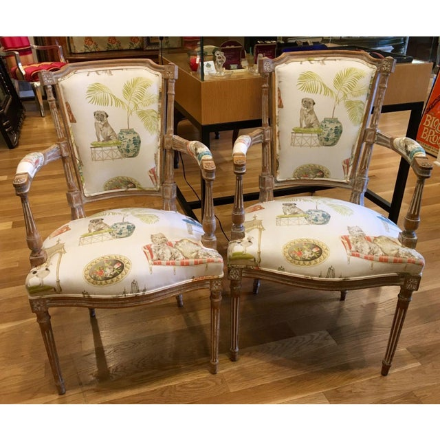 Antique Directoire Chairs with Dogs Fabric - Pair - Image 2 of 4