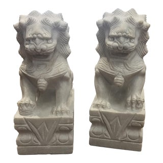 21st Century White Marble Guardian Chinese Foo Dogs- A Pair For Sale