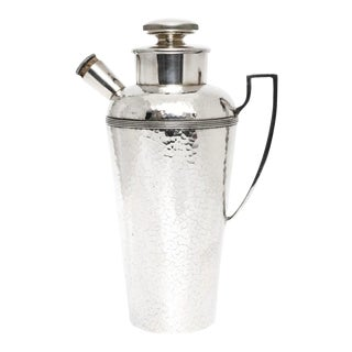 Art Deco Hand-Hammered Silverplate Cocktail Shaker For Sale