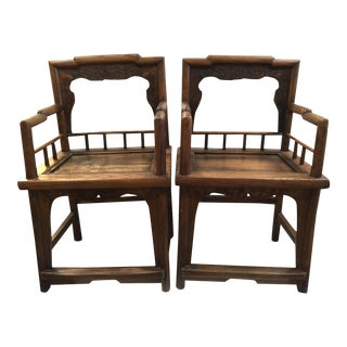 Early 20th C, Wood Chinese Rose Chairs, A-Pair For Sale
