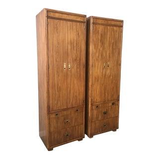 Vintage Mid Century Drexel Passage Campaign Cabinet Shelving Units - a Pair For Sale