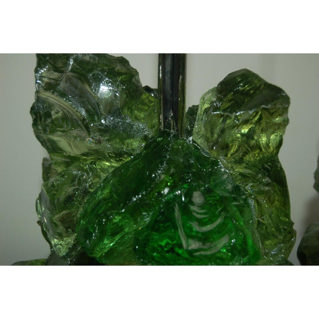 Green Glass Rock Table Lamps by Swank Lighting Green For Sale - Image 8 of 11