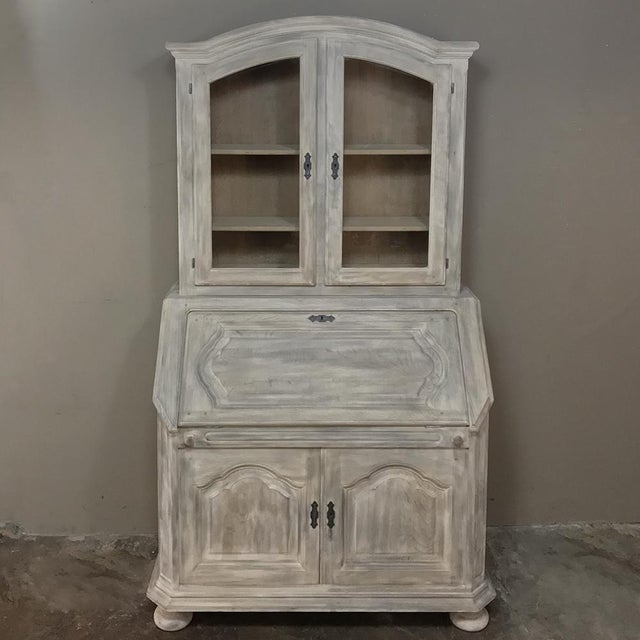 Rustic Antique Country French Whitewashed Secretary ~ Bookcase For Sale - Image 13 of 13