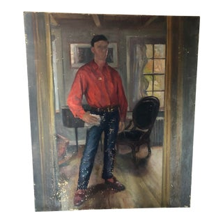 1940s Painting, Man in Home For Sale