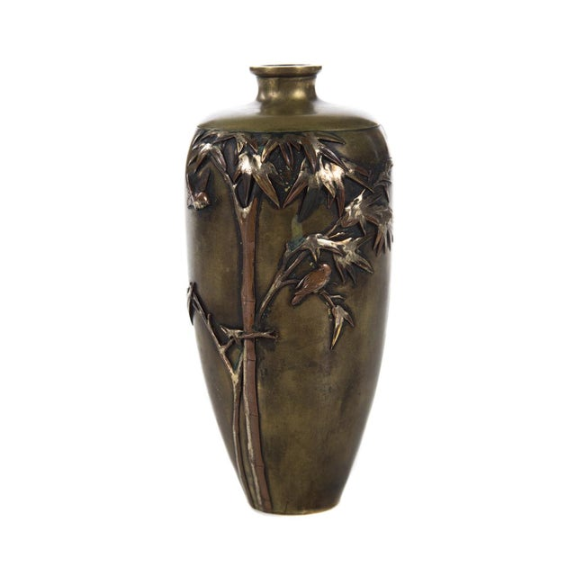 Offering a 19th century Japanese mixed metal Meiji vase. A beautiful piece that will add to your décor! size 3 x 6""