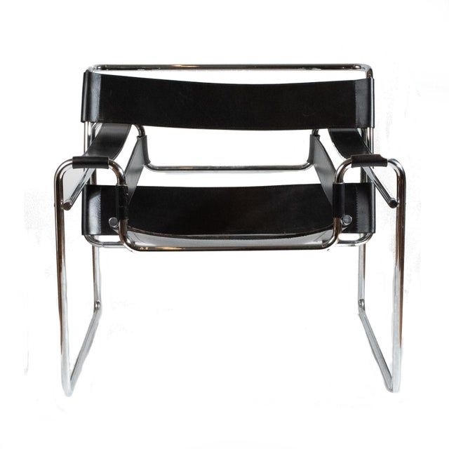 Vintage Mid Century Modern Marcel Breuer Wassily Black Strap Leather Chair Tubular steel lounge chair with thick leather...
