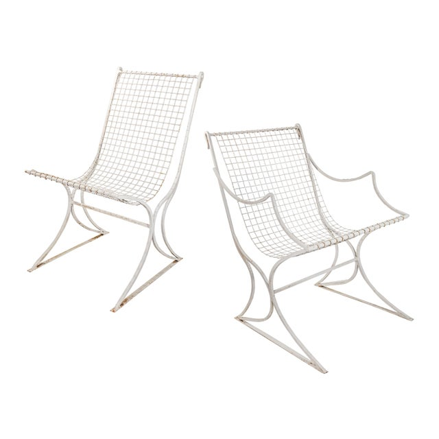 """Set of 4 Salterini chairs - 2 with arms / 2 without Armless measure : 32"""" h x 16 1/2"""" w x 23"""" d with a 16 1/2"""" seat height."""